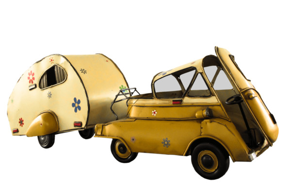 Vine Small Car With Camper Side View PNG Image