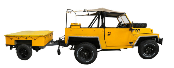 Yellow Jeep With Cart PNG Image