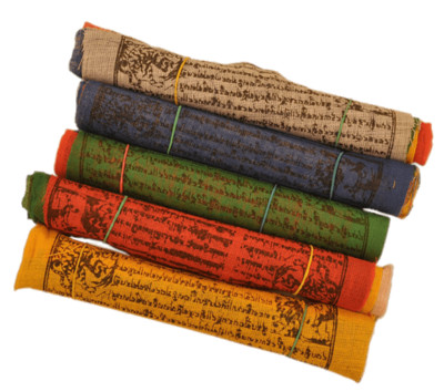 Rolls Of Buddhist Prayer Flags PNG Image