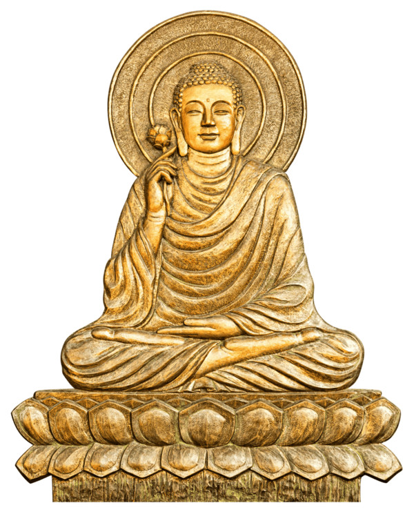 Buddhism Gold Statue PNG Image