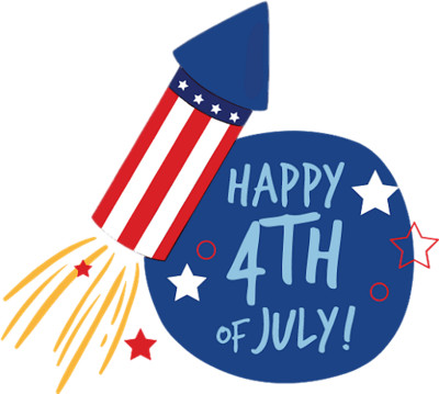 Happy 4th of July fireworks rocket PNG Image