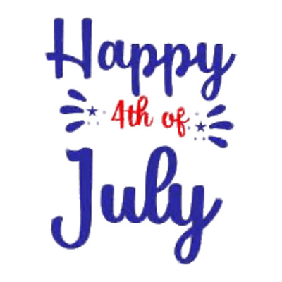 Happy 4th of July blue and red letters PNG Image