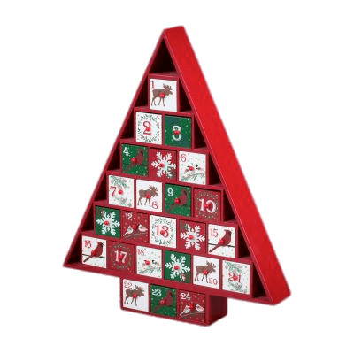 Wooden Tree Advent Calendar PNG Image