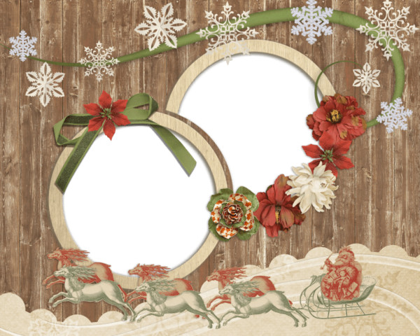 Antique Wooden Christmas Photo Frame PNG Image
