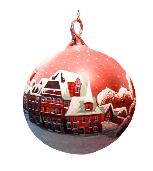 Christmas Bauble Houses Drawing PNG Image