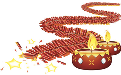 Diwali Fireworks and Lamps PNG Image