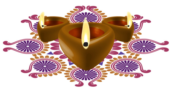 Candle and Flowers Diwali PNG Image