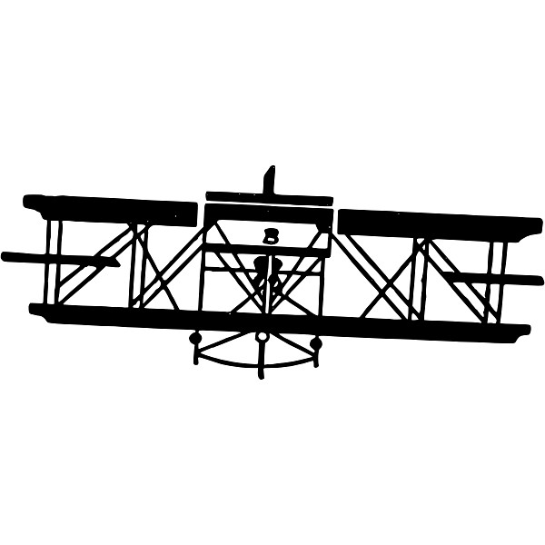 Airplane Silhouette Front View Vine Illustration PNG Image
