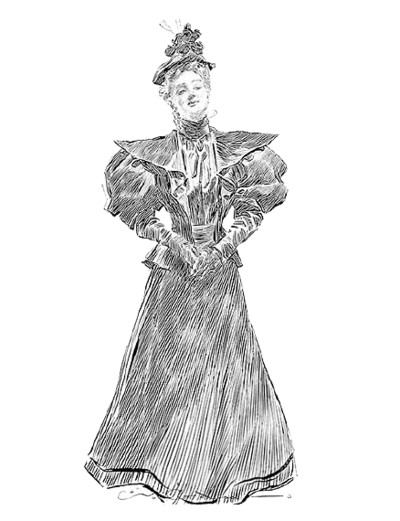 Standing Victorian Lady Portrait PNG Image