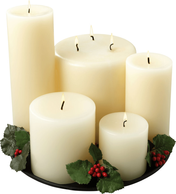Group Of White Candles PNG Image