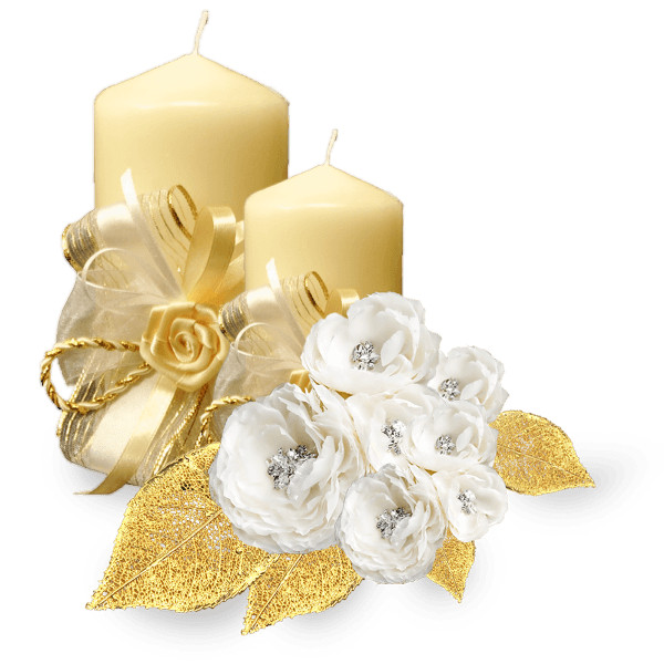Wedding Golden Candle PNG Image