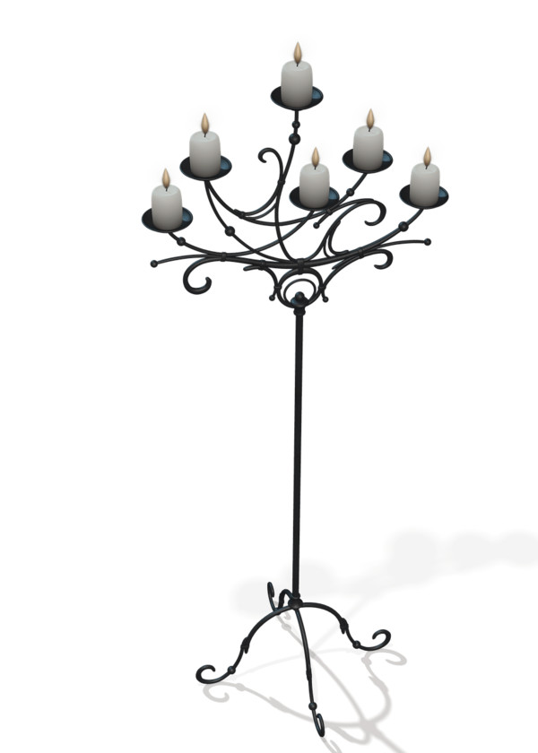 Candles on Black Stand PNG Image