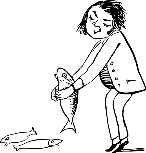 Edward Lear Drawing Man Holding on to Slippery Fish - Download on PNGPX