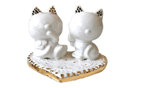 Wedding Cake Topper Cat Figurines PNG Image