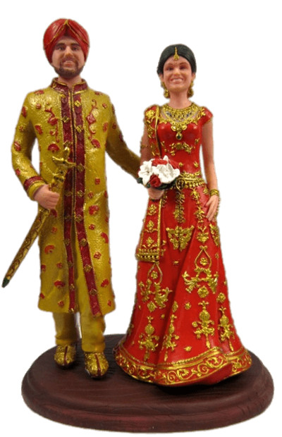 Indian Wedding Cake Topper Figurines PNG Image