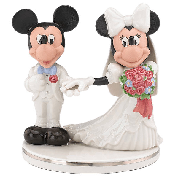 Mickey and Minnie Wedding Figurines Cake Topper PNG Image