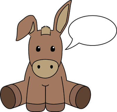 Donkey with Speech Bubble PNG Image