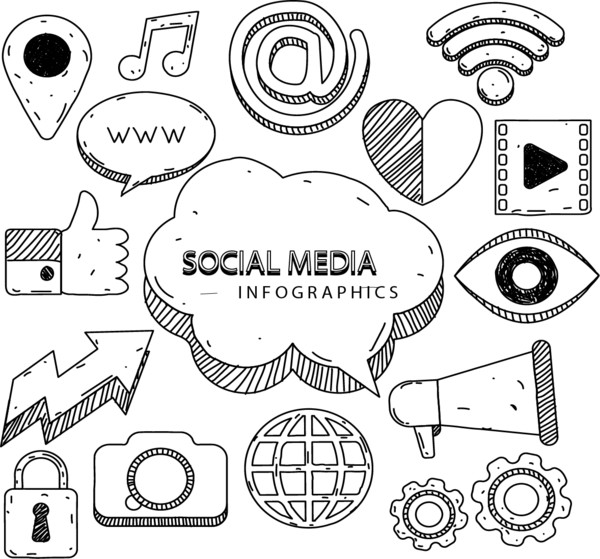 Infographic Media Social Euclidean Vector Marketing Hand-Painted  PNG Image