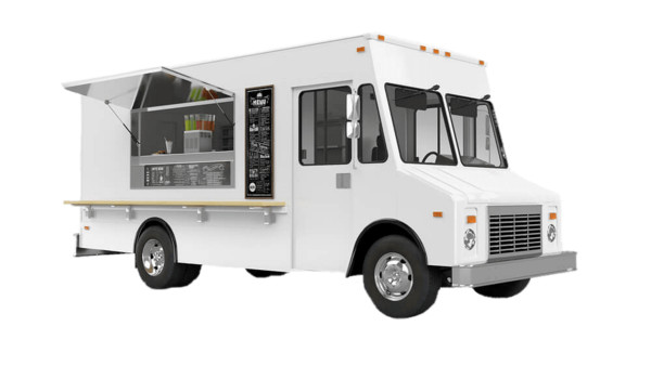White Food Truck PNG Image