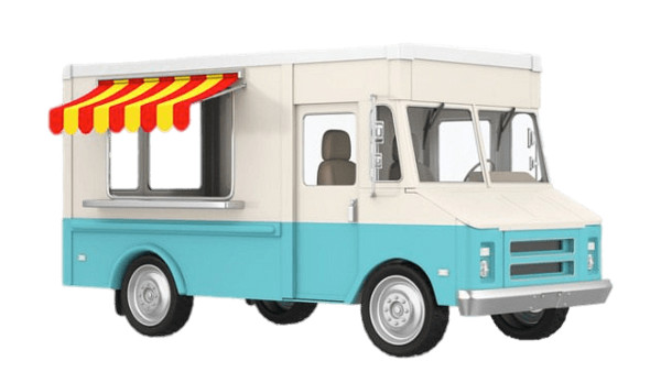 White and Blue Food Truck PNG Image