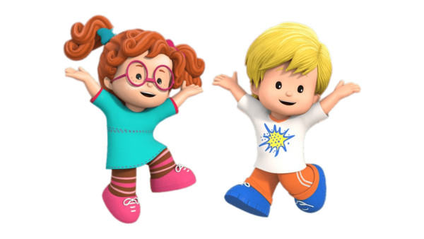 Little People Sofie and Eddie Jumping PNG Image
