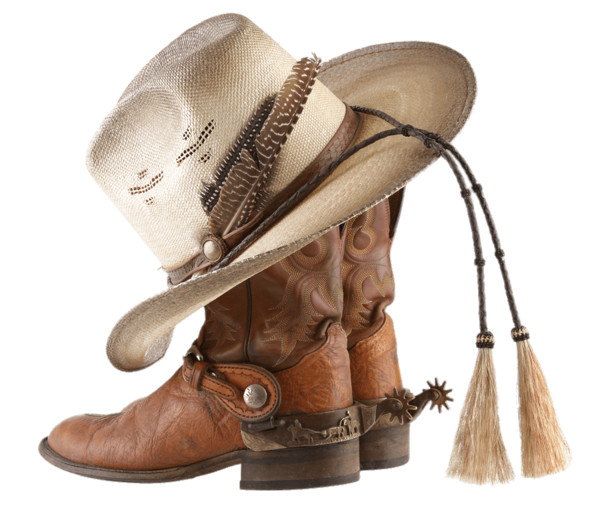 Cowboy Boots and Hat With Tassels PNG Image