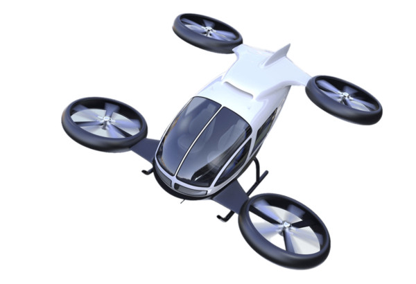 Flying Car With Big Rotary Wheels PNG Image