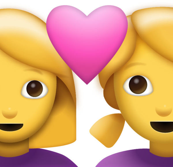 Two Women With Heart Emoji [  iPhone Emojis] Icon   PNG Image