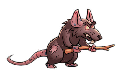 Almost A Hero Character Rat Holding A Stick PNG Image