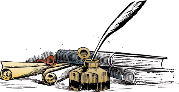 Quill Writing Manuscript PNG Image
