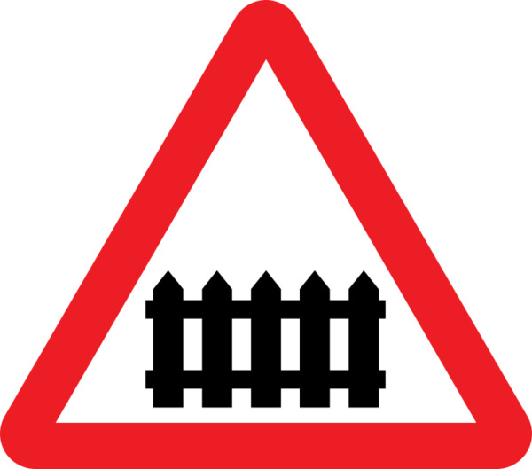 Train Crossing Traffic Sign PNG Image