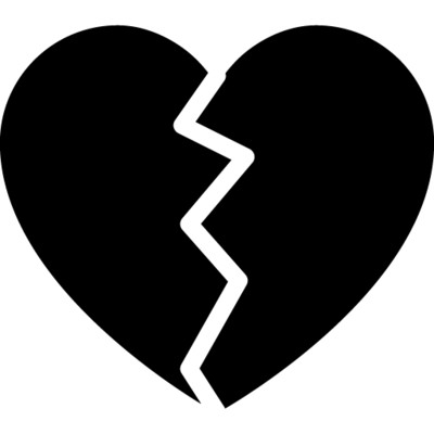 Broken Heart Black and White PNG Image