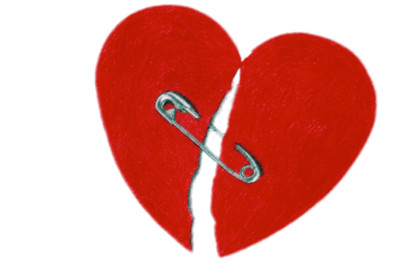 Broken Heart With Safety Pin PNG Image
