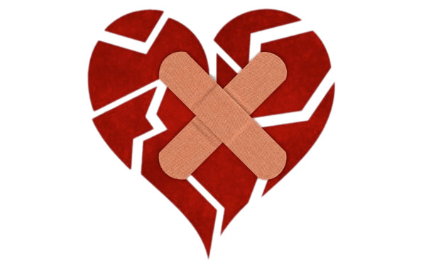 Fragmented Heart With Bandaids PNG Image