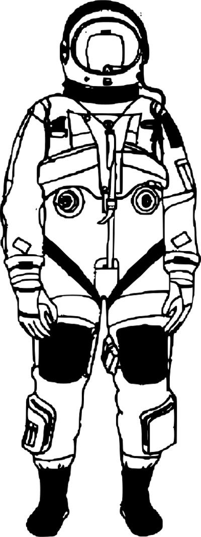 Astronaut in Suit Black and White PNG Image
