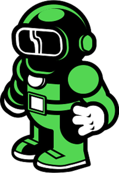 Astronaut in Green Suit PNG Image